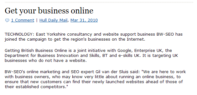 Business Website SEO Hull Daily Mail Article Image